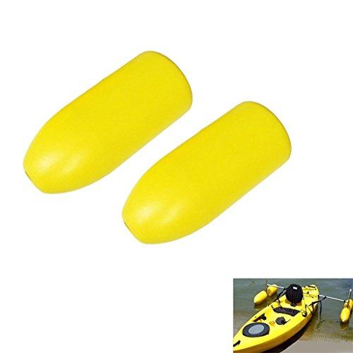 D DOLITY Set de 2pcs Flotteurs Stabilisateurs en PVC Avec Laisse de Pagaies Elastique de Kayak Canoe Bateau Pêche - Jaune