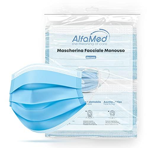 ALFAMED 50 Mascherine Chirurgiche 3 Strati, Made in Italy, Mascherina Blu, Certificata CE, Traspirante Con Nasello...