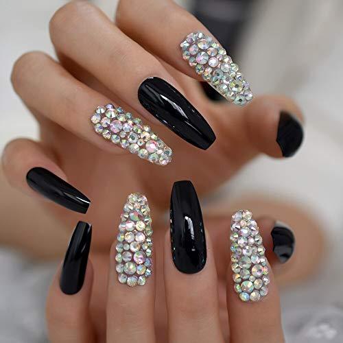 CoolNail Super Long Glossy Solid Black Ballerina Fake Art Nails AB Rhinestones Gems Decor Coffin Salon False Nails Jelly Sticker Tape
