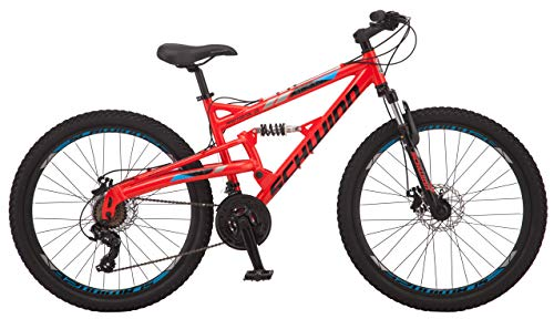 Product Image 6: Schwinn Protocol 1.0 Mens and Womesn Mountain Bike, 26-Inch Wheels, 24-Speed Drivetrain, Lightweight Aluminum Frame, Full Suspension, Red/Blue