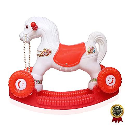 Kiddykin 2 in 1 Baby Horse Rider for Kids 1-6 Years Birthday Gift for Kids/Boys/Girls (White & Red) Plastic, Pack of 1