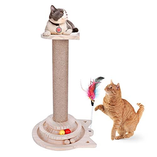 Poste rascador para gatos, estructura duradera y de alta calidad, de sisal natural de 44 cm con 6 almohadillas antideslizantes