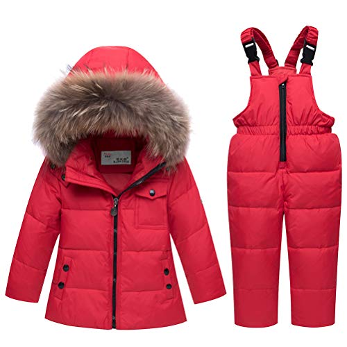 Odziezet Snowsuit da Unisex Bambini Tuta da Sci Piumino Trapuntato + Salopette 2 Pezzi Tutone Inverno 4-13 Anni