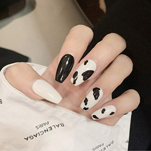 Aiyuan Black Press on Nails Coffin Long Ballerina Fake Nails Full Cover Cow Print False Nails with Designs Acrylic Nails Artificial Nails Stick on Nails for Women and Girls Christmas Gifts
