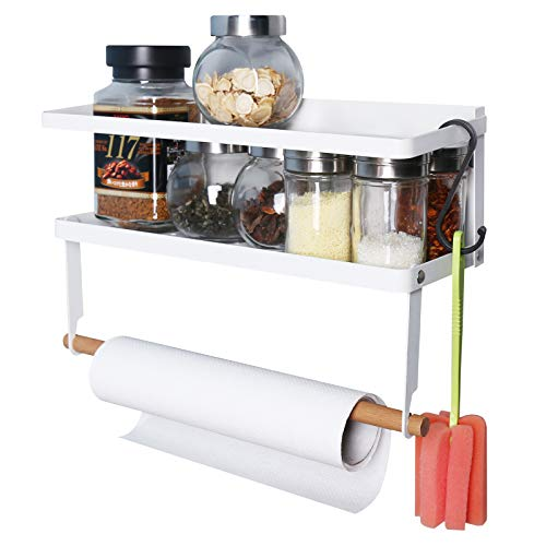 sorliva Magnetic Organizer for Refrigerator,Fridge Spice Rack Organizer Paper Towel Holder with 6 Removable...