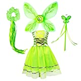 Tinkerbell Fairy Tutu Dress Costume for Girls Pixie Butterfly Dress Up Birthday Party Outfits (Green, M)