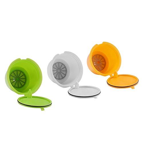 FreeLeben Capsule di Caffè Ricaricabili, 3Pcs Riutilizzabile Universal Dolce Gusto Machine Filtro per Caffè BPA Free, con Cucchiaio e Pennello