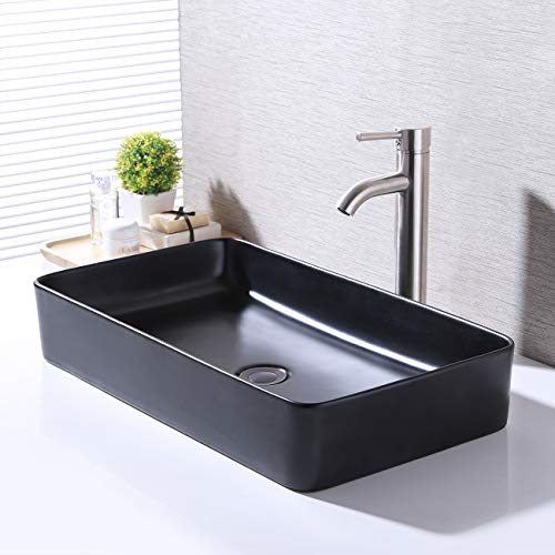KES Bathroom Vessel Sink 24 Inch Above Counter Rectangular Matte Black Countertop Sink for Cabinet Lavatory Vanity,...