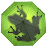 SUSINO Green Frog Shadow Compact Travel Umbrella Automatic Open Close Windproof Folding Mini Umbrella with Graphic Pattern for Women Men Teenager
