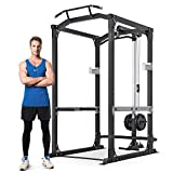 MaxKare Power Cage with LAT Pulldown Attachments | 2.5' Frame 1600 LBS Capacity | Olympic Squat Rack for Home Gym Barbell Strength Training Smith Machine | Free Accessories | 14 Height Adjustable