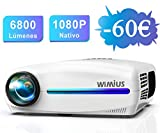 Proyector, WiMiUS 6800 Lúmenes Proyector Full HD 1920x1080P Proyector de Cine en Casa, Soporta 4K Pantalla 300' Ajuste Digital 4D de ±50° Sonido Estéreo Proyector LED 78,000H HDMI/USB/SD/GA/AV/PS4