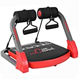 Deckey Core & Abs Exercise Equipment, Total Body Muscle Workout Machine for Strength Workout Training, Home Gym Fitness Equipment for Weight Loss with Resistance Bands & Fitness Guide, Red
