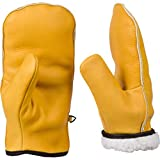 Chopper Mitts, Top-Grain Cowhide Leather, Sherpa Lined Cold Weather Mittens (XXL Womens/Large Mens)