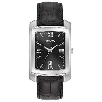 Bulova Men's Stainless Steel Analog-Quartz Watch with Leather-Crocodile Strap, Black, 20 (Model: 96B269)