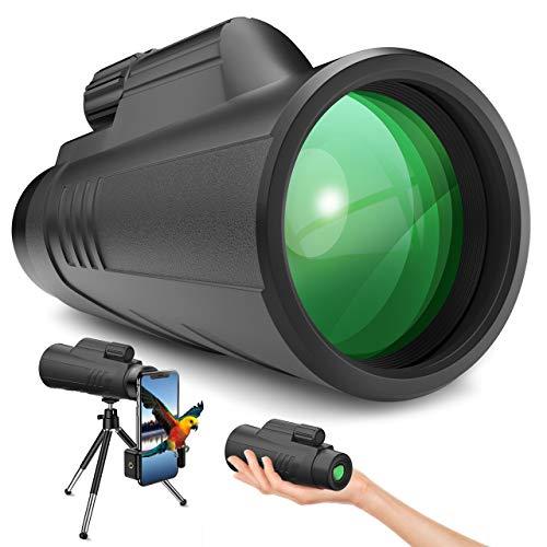 Gafild Telescopio Monocular, 12X42 BAK4 FMC Prisma Monocular Impermeable y Antivaho Monoculares para avistamiento Aves Caza Camping Concierto con Adaptador de Soporte para Smartphone y trípode