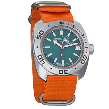 Vostok Amphibian Automatic Self-Winding Russian Military Wristwatch #710059 (Orange)