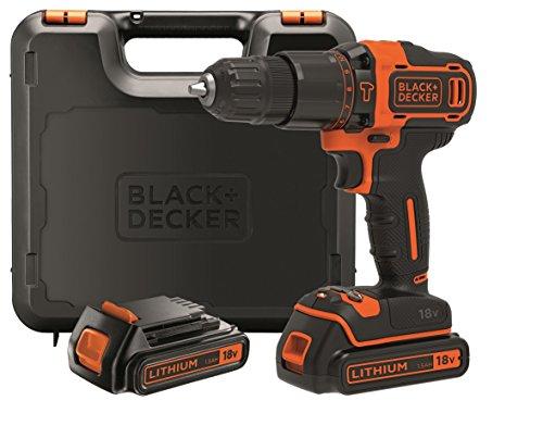 BLACK+DECKER BDCHD18KB-QW Trapano/Avvitatore con Percussione, 18 V, 2 Batterie, 0-360/0-1400 Giri/min