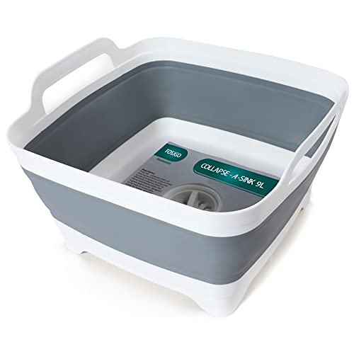FOSJGO Dish Basin Collapsible with Drain Plug Carry Handles for 9...