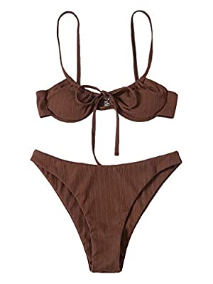 Sexy tie front bikini bathing suits Fabric: Fabric is very stretch, soft and comfortable Feature: Spaghetti strap, tie front, rib knit, underwire top, chest pad can be removed, fashionable Size recommendation: Please refer to size chart which we prov...