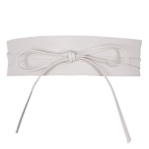 Ayliss Women Soft Leather Obi Belt Self Tie Wrap Cinch Belt,White
