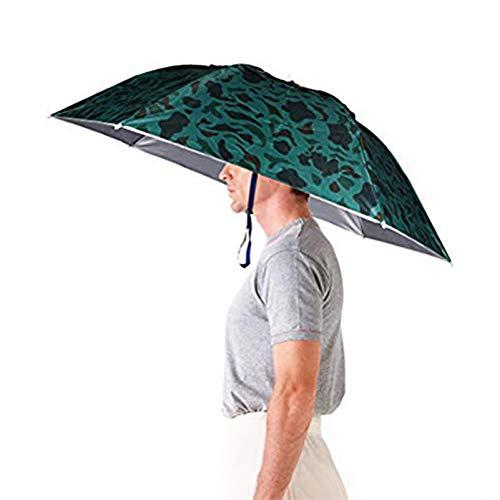 Aoneky Sombrero Paraguas de Golf Plegable Adjustable Sombrero para el Sol y Lluvia de 31'' (91 cm) de Diámetro, Sombrero para Tener Las Manos Libres, Pesca, Jardinería, Fotografía al Aire Libre