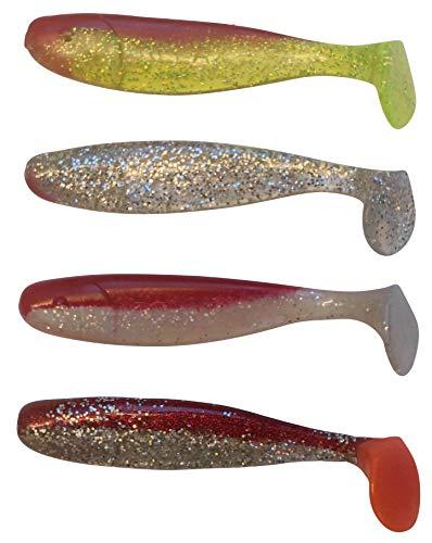 SANDAFISHING Jankes - 4 esche in gomma per luccio, 16 cm, per luccio, luccioperca, merluzzo, merluzzo, silvicoltura (16 cm mix di colori 2)