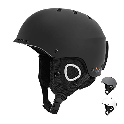 Vihir Skihelm Damen Herren ski Helmet Snowboardhelm Wintersport-Helm für Erwachsene Jungen mit Abnehmbarem Innenfutter und Ohrenschützer, Matt Schwarz 54-60CM