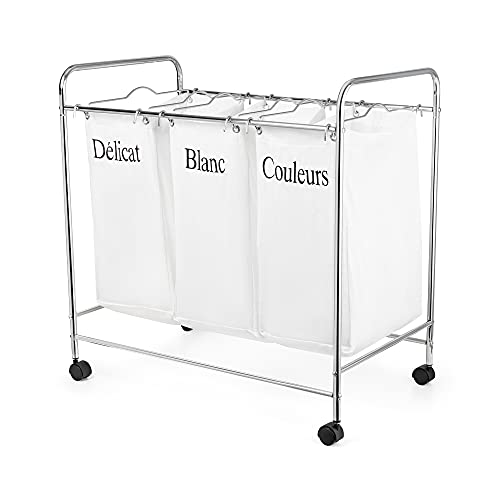 Compactor Wheeled Laundry Basket with 3 Compartment, Chrome Steel and Polycotton, 74 x 45.5 x H.75 cm, White/Black, RAN2594