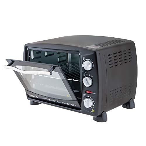 H.Koenig Mini Four 18L Electrique FO18 Posable Compact Multifonction Performant 1300W Programmable 3 modes de cuisson, 230°, Minuteur 60 min, Porte en Verre, Lèchefrite avec pince, grille de cuisson
