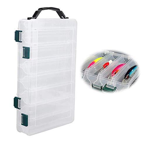 Contenitore in plastica Box-pesca Scatola, scatole per Attrezzatura da Pesca in plastica, Due facciate 14 Scomparti portaoggetti per Pesca organizzatore Custodia per Esca Grande capacit Trasparente