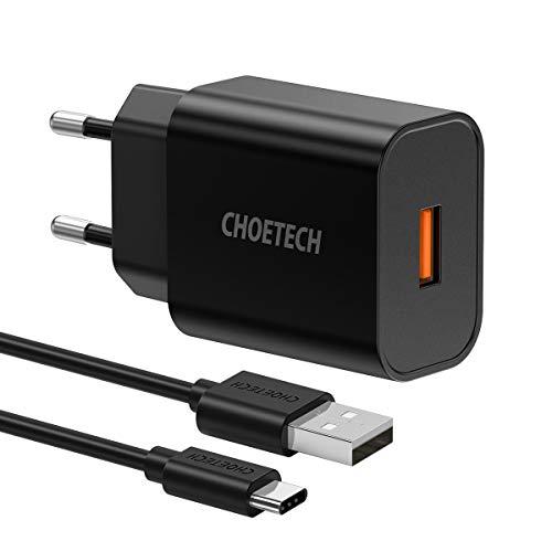 CHOETECH 18W Quick Charge 3.0 Chargeur secteur rapide pour One plus 6/galaxy S9/S9 plus/Note 8/s8/s8 plus/Nokia 8/LG G6/Ipad Pro et Autre (Cble USB A vers USB C Inclus)