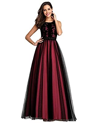 Not padded, with lining Features: floral lace pattern, stretch elastic band, A-line floor-length evening dress Perfect for evening party, cocktail party, formal, night&out club, wedding, holiday.etc. Women's floral lace evening dress can easy create ...