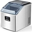 Ice Maker Machine Countertop, 40Lbs/24H Auto Self-Cleaning, 24 pcs Ice Cube in 13 Mins, FREE VILLAGE Portable Compact Ice Cube Maker, With Ice Scoop & Basket, Ideal for Home/Kitchen/Office/Bar, Sliver