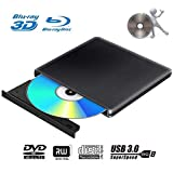 External 4K 3D Blu Ray DVD Drive Burner, Portable Ultra Slim USB 3.0 Blu Ray BD CD DVD Burner Player Writer Reader Disk for Mac OS, Windows 7/8.1/10 /Linxus, Laptop, PC