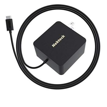 Nekteck 45W USB C Wall Charger with Power Delivery, Laptop Fast Charging Adapter Built-in 6ft Type C Cable for MacBook, Dell XPS, Surface Go, Pixel, Galaxy, Nintendo (Black)