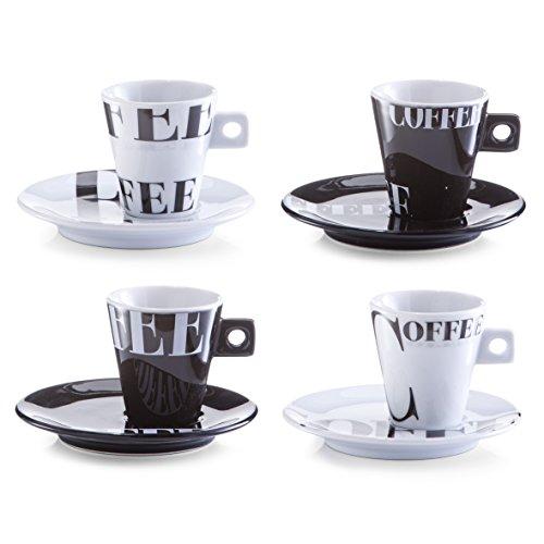 Zeller 26540 Set Tazzine da caffè Coffee Style, Porcellana, Multicolore, 0.1x6x6.3 cm, 8 unità