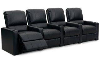 Octane Seating Octane Charger XS300 Leather Home Theater Recliner Set (Row of 4), Black