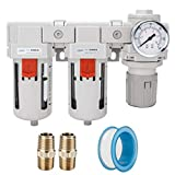 NANPU DFR-03 3/8' NPT Air Drying System - Double Air Filters, Air Pressure Regulator Combo - Semi-Auto Drain, Poly Bowl