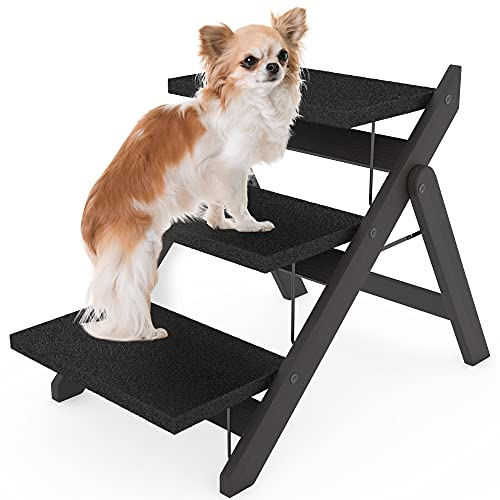 Heeyoo Foldable Dog Stairs, Non-Slip Wooden Dog...