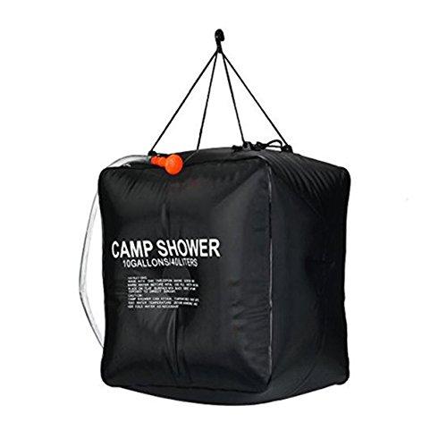 BIYI 40L Bolsa de ducha de PVC para acampar Tubo de agua con calefacción solar Portátil para senderismo al aire libre Viajes Conveniente Colgando Rocía agua (Negro)