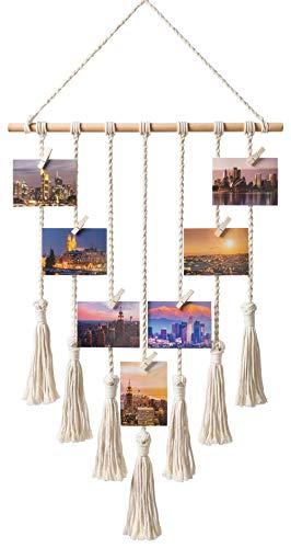 Mkono Hanging Photo Display Macrame Wall Hanging Pictures Decor...