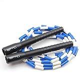 jump rope sports Springseil Freestyle Bead - Länge verstellbar (Blau/Weiss, 3.0)