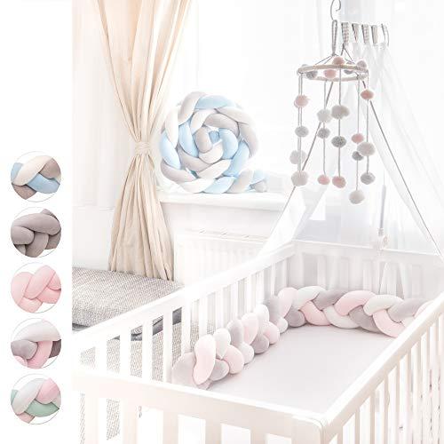 KINDNEST Bettumrandung Babybett Bettschlange 300 cm Bettschlange geflochten Nestchen Babybett Bettschlange Baby Knoten Kissen Bettschlange 3m und Baby Bettumrandung 2m