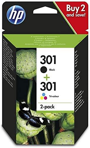 HP 301 N9J72AE, Confezione da 2 Cartucce Originali, per HP DeskJet Serie 1000, 1050 1500, 2000,...