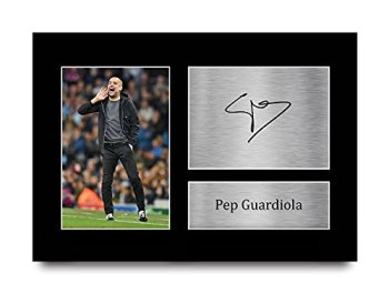 HWC Trading Pep Guardiola Gift Signed A4 Printed Autograph Manchester City Gifts Photo Display