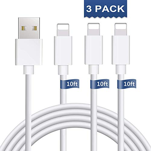 iPhone Charger 3Pack 10FT iPhone Charger Cable iPhone Charging Cable Cord Compatible iPhone Xs MAX XR X 8 8 Plus, iPhone 7 7 Plus 6 6s 6 Plus 6s Plus, iPhone SE 5 iPad, iPod and More(White)