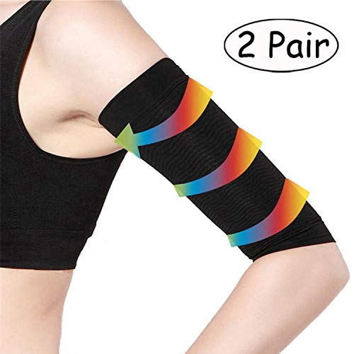 2 Pair Arm Slimming Shaper Wrap, Arm Compression Sleeve Women Weight Loss Upper Arm Shaper Helps Tone Shape Upper Arms Sleeve for Women (2 Pair-Black)