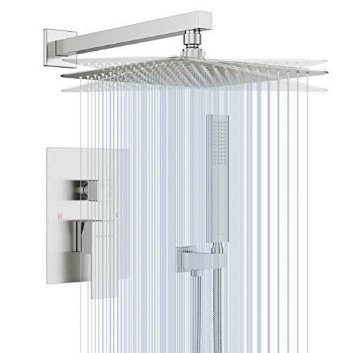 """EMBATHER Shower System- Brushed Nickel Shower Faucet Set for Bathroom- State-of-the-art Air Injection Technology- 12"""" Square Rain Shower Head- Easy Installation- Eco-Friendly"""