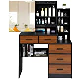 Tiptiper Makeup Vanity Table with Storage Cabinet, Dressing Table with Sliding Mirror, Vanity Set with Large Drawers and Shelves for Bedroom