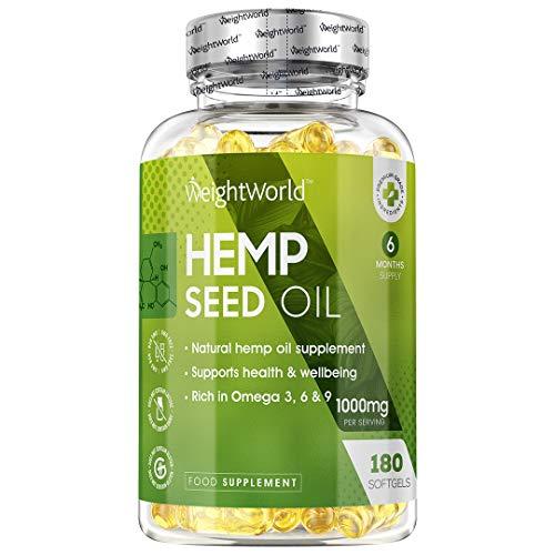 Aceite de Cáñamo 1000 mg 180 Cápsulas - Rico en Ácidos Grasos Omega 3, 6 y 9 y Antioxidantes, Alternativa Vegetal al Aceite de Pescado, Aceite de Semillas de Cáñamo por Prensado en Frío